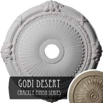 "Ekena Millwork CM27HEGDC Heaton Ceiling Medallion, 27 1/2""OD x 3 7/8""ID x 2 1/4""P (Fits Canopies up to 6 1/2""), Hand-Painted Gobi Desert Crackle"