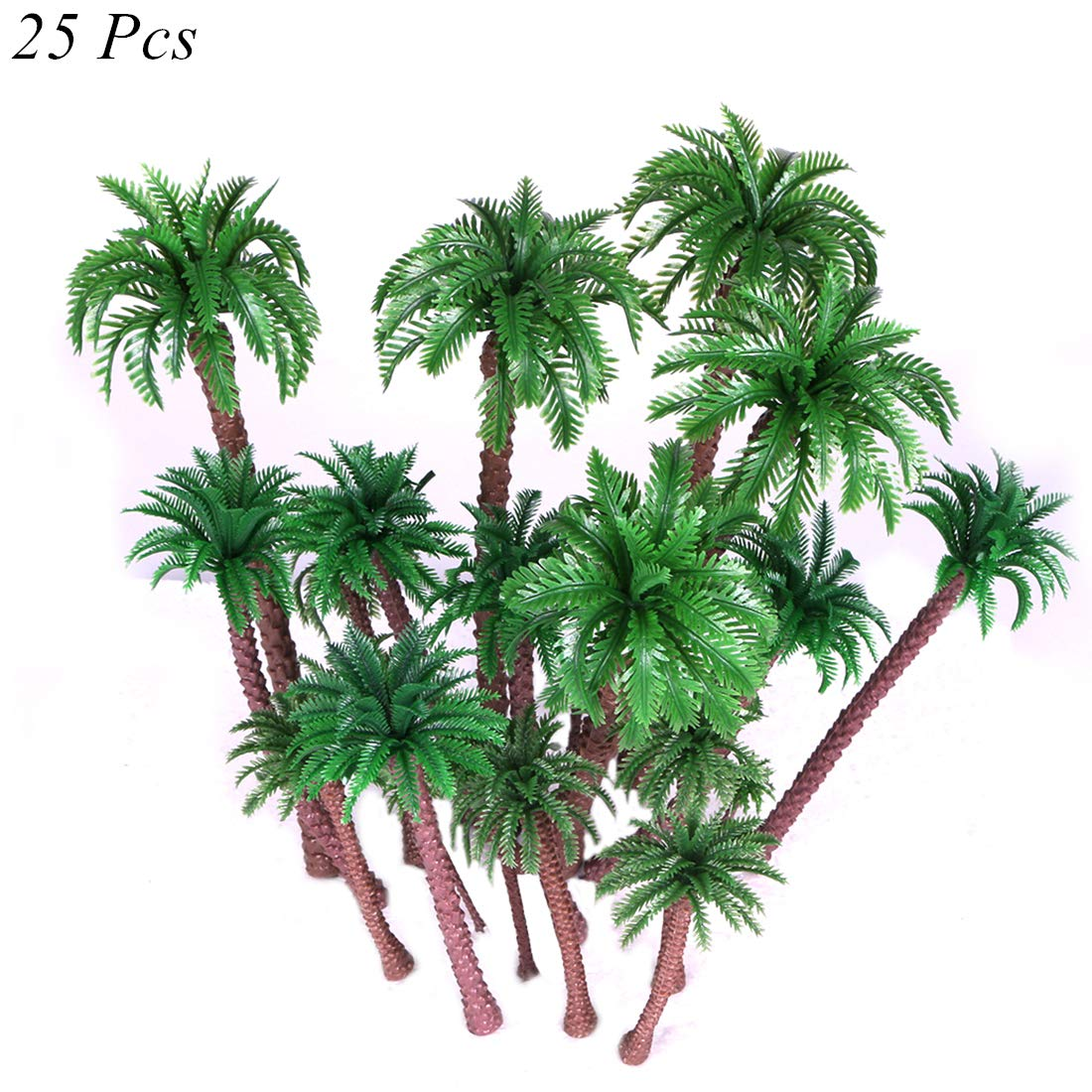 Ymeibe 25 PCS Coconut Palm Model Trees Diorama Plastic Trees Artificial Layout Rainforest Miniature Trees Train Railways Architecture Building Model Trees Cake Topper Decoration