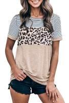 Yanekop Womens Leopard Striped Printed T Shirt Short Sleeve Color Block Tunic Casual Tops