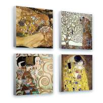 """Alonline Art - Water Serpents Tree Kiss Expectation by Gustav Klimt   framed stretched canvas (Synthetic) on a ready to hang frame - gallery wrapped   12""""x12"""" - 30x30cm   Set of 4 Lot   picture"""