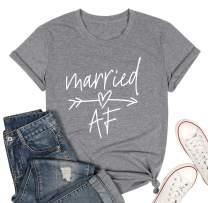 Married Af Letter Print T Shirt Honeymoon Shirt Honeymooning T Shirt Women Wedding Gift Bride Gift Tee