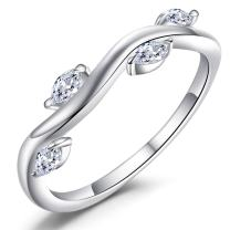 Caperci Sterling Silver Winding Willow Marquise-Cut Cubic Zirconia Anniversary Wedding Band Rings
