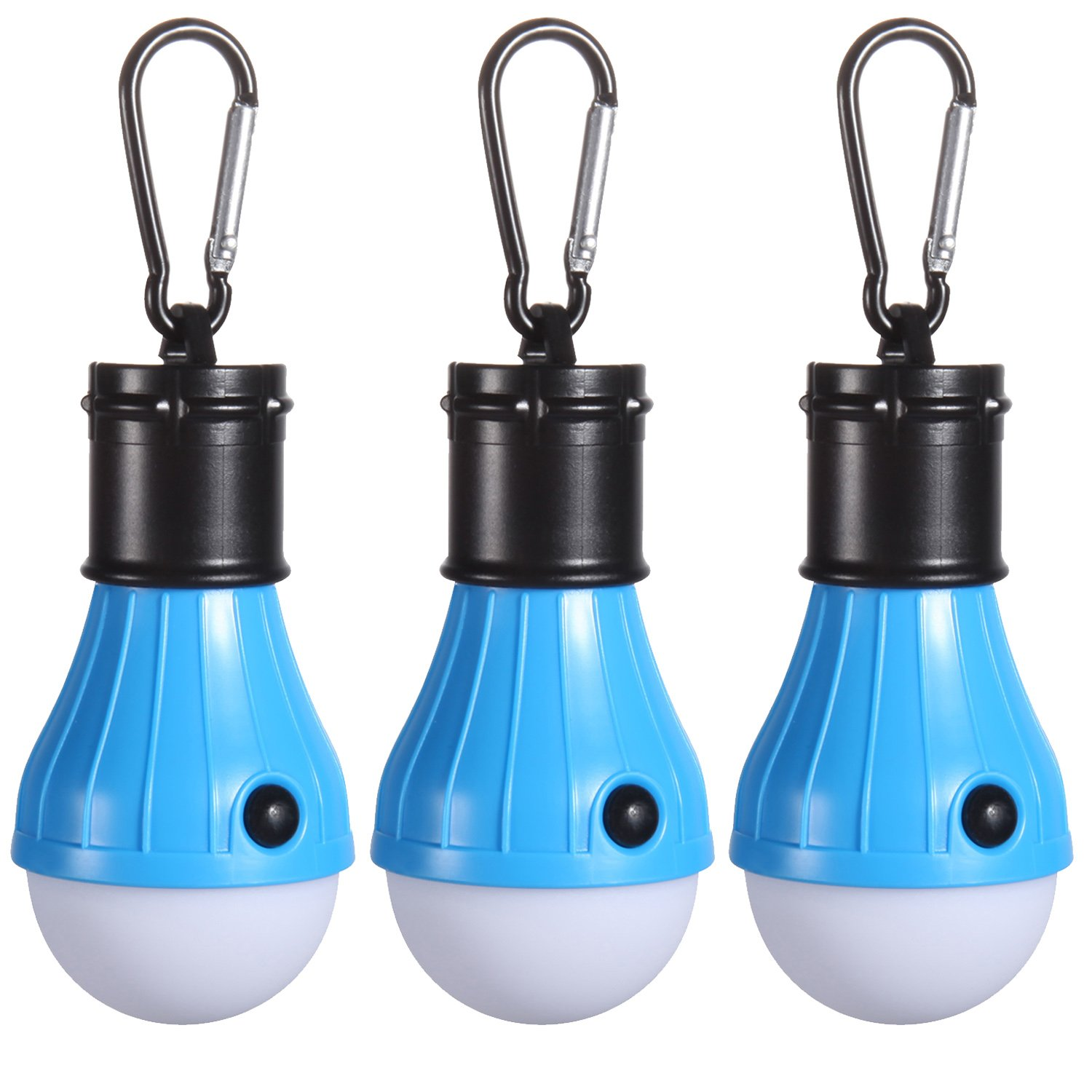 Peyou Led Tent Lamp [3 Pack], Portable LED Lantern Tent Light Bulb with Carabiner, for Backpacking, Camping, Hiking, Riding, Fishing, Outdoors & Indoors Emergency Lighting Gear [Battery Powered]