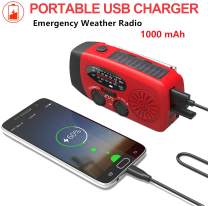 Emergency Weather Radios, ROYAL WIND Portable Hand Crank Self Powered AM/FM NOAA Solar Radio with LED Flashlight, 1000mAh Power Bank for iPhone/Smart Phone for Household and Outdoor Survival