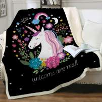 "Sleepwish Cute Plush Unicorn Soft Blanket Girls Cartoon Unicorn with Flowers Fleece Blanket Black Sherpa Blanket Unicorn Gifts for Kids Adults Women King(108""x90"")"