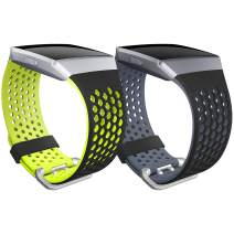 SKYLET Compatible with Fitbit Ionic Bands, 2 Pack Soft Silicone Breathable Replacement Wristband Compatible with Fitbit Ionic Smart Watch with Buckle Men Women Small Large Black