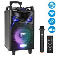 """Moukey 520 Watt Outdoor Portable Wireless Connection Karaoke Speaker System Machine for Adults- PA Stereo with 10"""" Subwoofer, DJ Lights, Rechargeable Battery,VHF Microphone, Recording, MP3/USB/SD"""