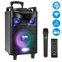 "Moukey 520 Watt Outdoor Portable Wireless Connection Karaoke Speaker System Machine for Adults- PA Stereo with 10"" Subwoofer, DJ Lights, Rechargeable Battery,VHF Microphone, Recording - Light Black"