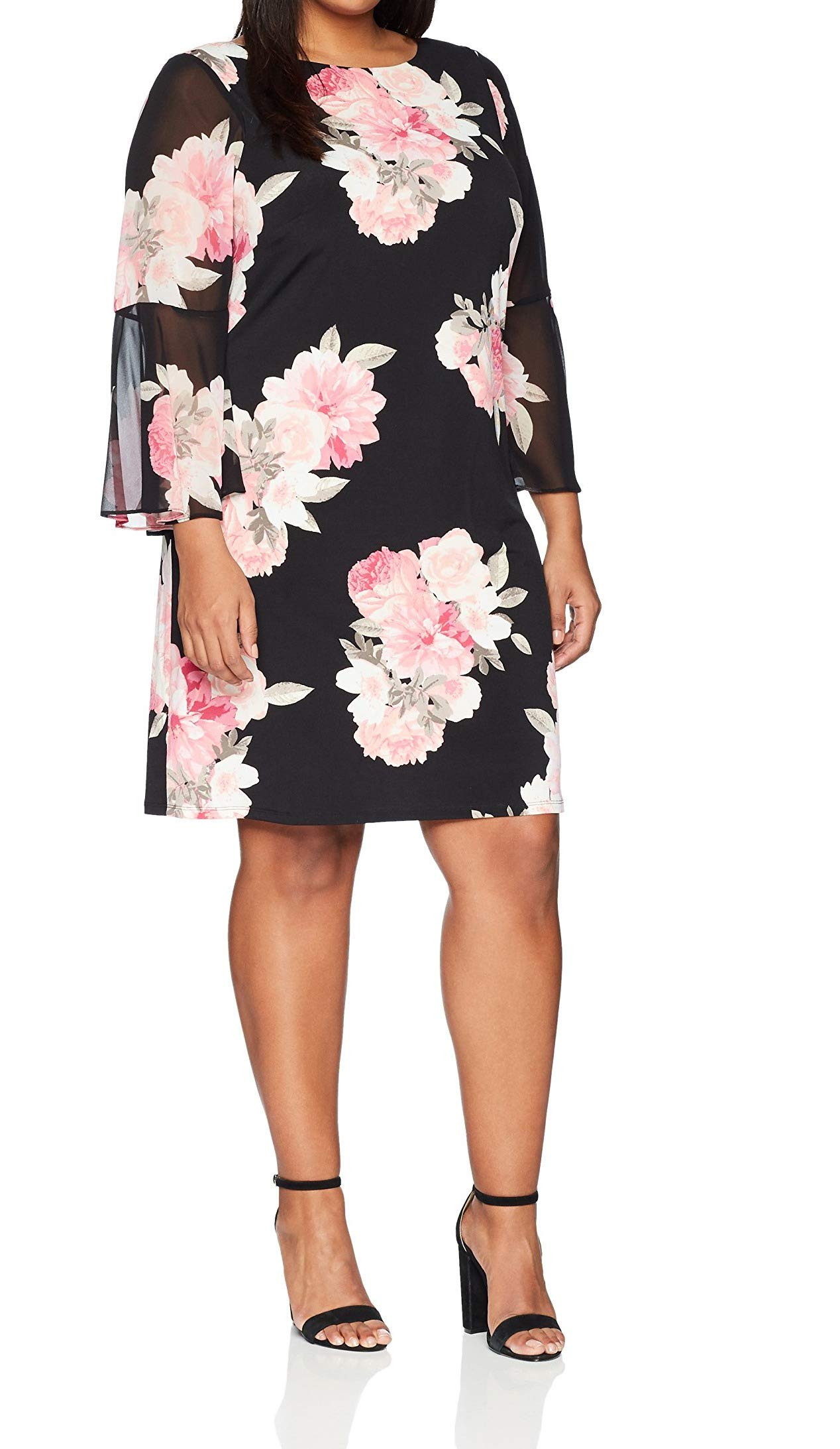 Jessica Howard Women's Plus Size Printed Bell Sleeve Shift