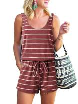 ANRABESS Womens Summer Scoop Neck Sleeveless Tie Dye Striped Jumpsuit Casual Tank Rompers with Pockets