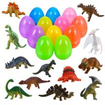"12 Pack Easter Eggs Prefilled with 12 Dinosaur Toys 3.2"" Large Toys Filled Easter Eggs for Easter Basket Stuffers Fillers Easter Party Favors Surprise Eggs Easter Gifts Classroom Prize for Kids by iBaseToy"