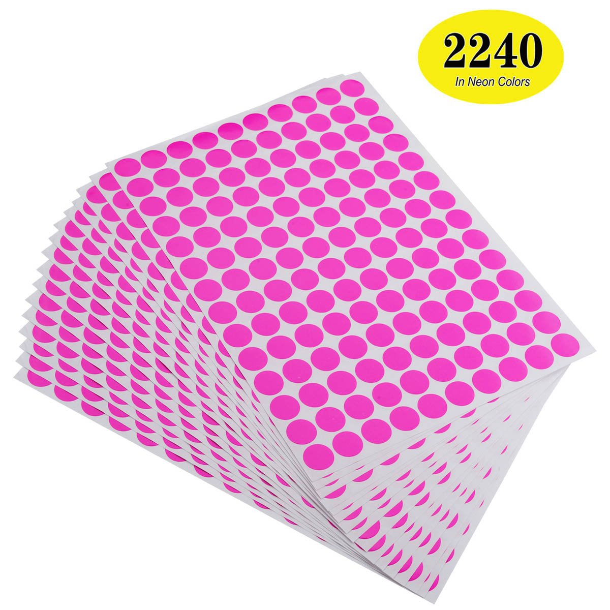 "ONUPGO Pack of 2240 Round Color Coding Labels Circle Dot Stickers, 3/4"" Fluorescent Dot Labels Sticker, Bright Neon Colors Label (Neon - Pink)"