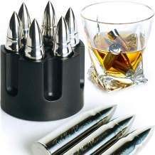 WHISKEY STONES EXTRA LARGE 6 PCS. STAINLESS STEEL SILVER BULLETS with Revolver Barrel Base Laser Engraved Ice Cubes Chillers Reusable Chilling Rocks Stone Gift Set for Men Father's Day Military Man.