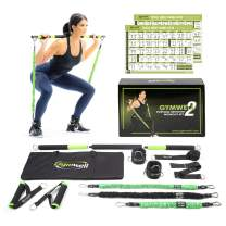 Gymwell Portable Resistance Workout Set, Total Body Workout Equipment for Home, Office or Outdoor with 3 Sets of Resistance Bands (Green - Full Gym2.0)