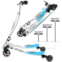 Swing Scooter 3 Wheel Foldable Slider Toddler Scooter for Kids, 3-Level Adjustable Height Toddler Wiggle Scooter Self Drifting Push Scooter for Age 3 Years Old and Up (US Stock)