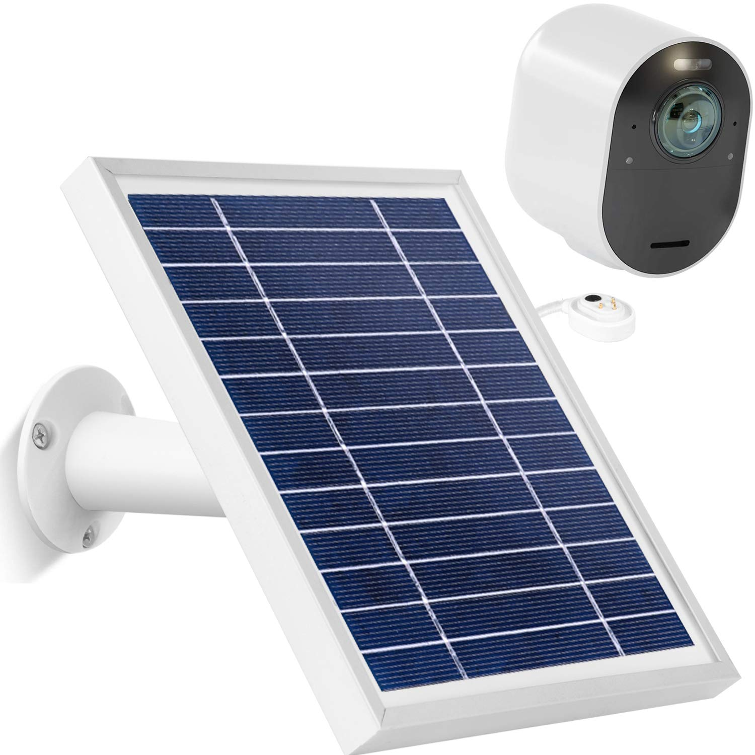Uogw Solar Panel Charge for Arlo Pro 3 /Arlo Ultra/Ultra 2/Arlo Pro 4, with 11.5ft Waterproof Magnetic Power Cable, Adjustable Mount(Silver)(NOT for Arlo Essential Spotlight)