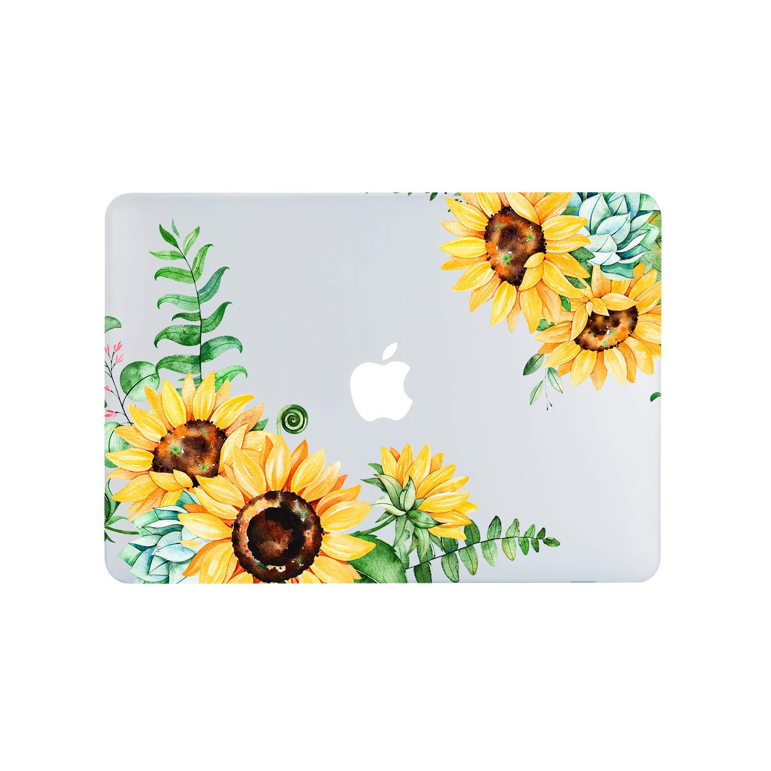 Lapac MacBook Air 13 Inch Bright Sunflower Clear Case 2019 2018 Release A1932, Soft Touch Hard Shell Case & Retina Display Fits Touch ID with Keyboard Cover (Sunflower2(A1932))