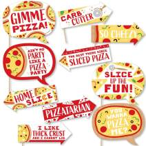 Funny Pizza Party Time - Baby Shower or Birthday Party Photo Booth Props Kit - 10 Piece