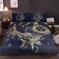 Sleepwish Golden Sun Moon and Stars Duvet Cover Set 3 Pieces Nature's Balance Celestial Fantasy Art Bedding Set (Cal-King)