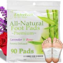 Dr. Entre's Foot Pads: Organic All Natural Formula for Impurity Removal, Pain Relief, Sleep Aid, Relaxation   Aroma Infused 90 Pack Free Foot Care E-Book Included