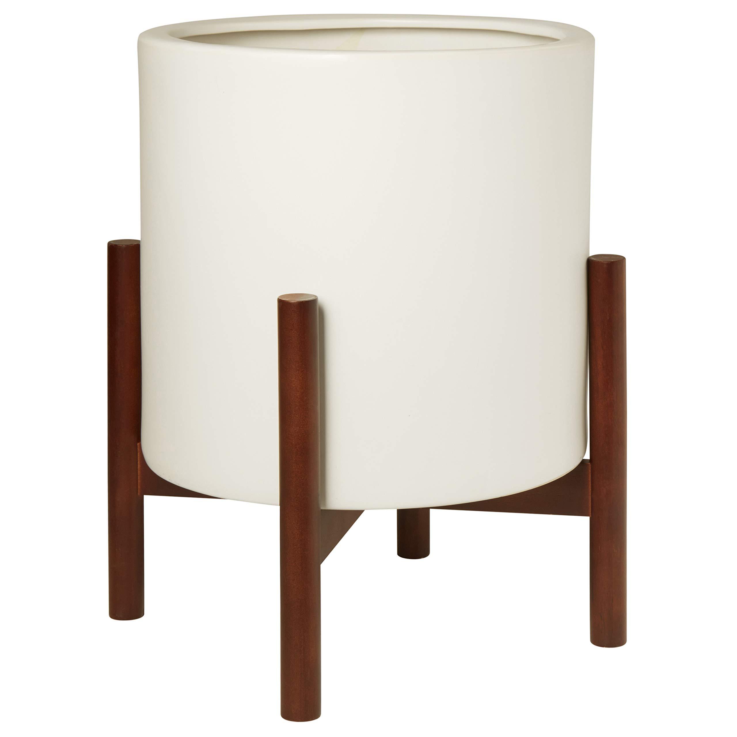 "Amazon Brand – Rivet Surrey Modern Ceramic Planter Pot with Wood Plant Stand, 19.75""H, White"
