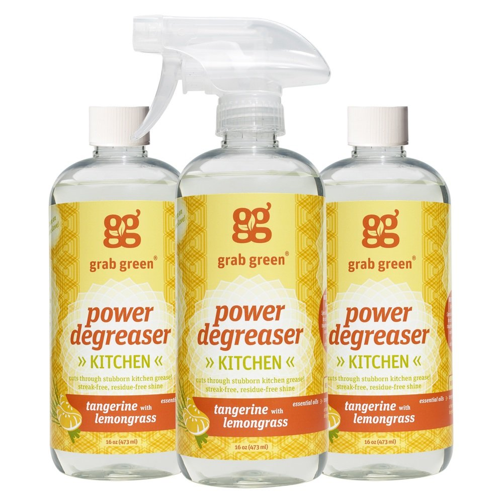 Grab Green Naturally-Derived, Tangerine with Lemongrass, 16 Ounce Bottle, 3 Pack, Biodegradable Power Degreaser, Residue & Streak-Free Finish,  Non-Toxic
