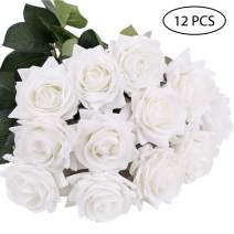 DIGIROOT Artificial Flowers Fake Rose, 12pcs Real Touch Silk Rose Flowers DIY for Wedding, Party and Home Decoration, White