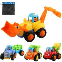 Friction Powered Cars, Push and Go Construction Vehicles Toys, 4 PCS Early Educational Toddler Toy Set, Tractor, Bulldozer, Cement Mixer Truck, Dumper for 1 2 3 Year Old Kids