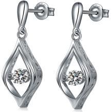 ZowBinBin Dancing Diamond CZ Earrings,Sterling Silver Dancing Diamond Halo/Teardrop/Round Cubic Zirconia Jewelry Earrings