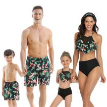 Baonmy Family Matching Swimsuits Mommy and Me Swimwear Ruffle Men Toddler Kids Bathing Suit Beachwear Sets