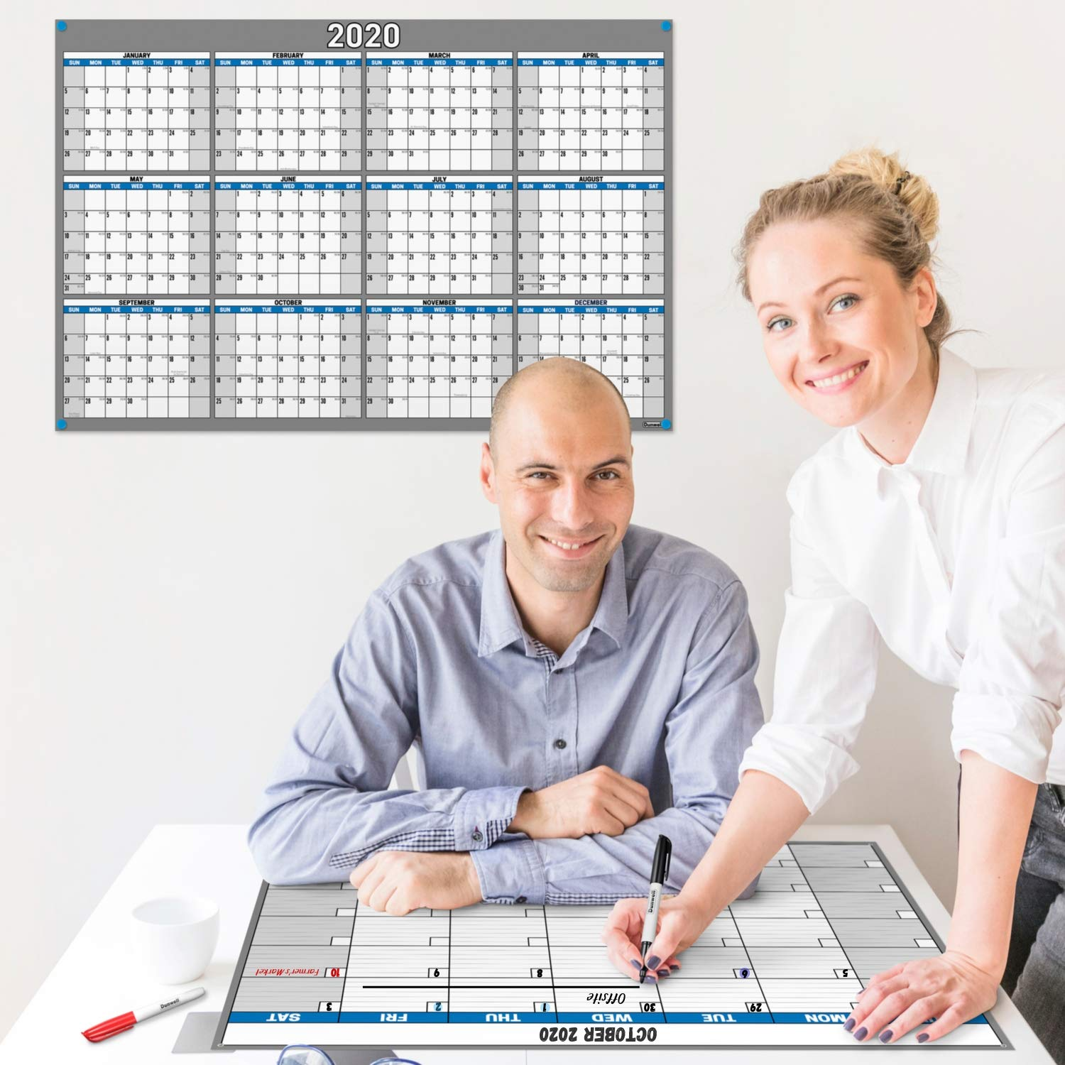 24x36 Erasable Undated Monthly Weekly Planner (Blue) with Bonus 2020 Horizontal Vertical Reversible Large Calendar, Laminated Dry Wet Erase Poster Calendars by Dunwell
