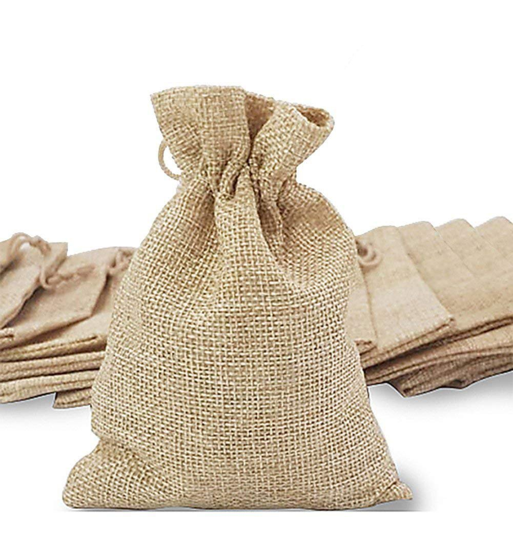 handrong 20pcs Burlaps Bags with Drawstring, Gift Bag Jute Hessian Packing Storage Linen Burlap Jewelry Pouches Sacks for Wedding Party Shower Birthday Christmas Jewelery DIY Craft