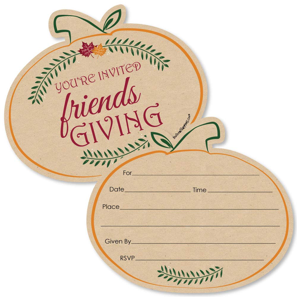 Big Dot of Happiness Friends Thanksgiving Feast - Shaped Fill-in Invitations - Friendsgiving Party Invitation Cards with Envelopes - Set of 12