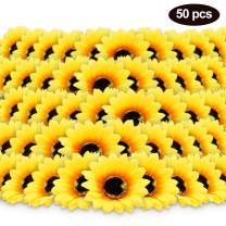 "50pcs 3.8"" Artificial Silk Sunflower Heads Yellow Fabric Floral for Home Party Decoration Wedding Decor, Bride Holding Flowers Centerpieces Wreath Garden Craft DIY Art Decor Classroom Crafts Decor"