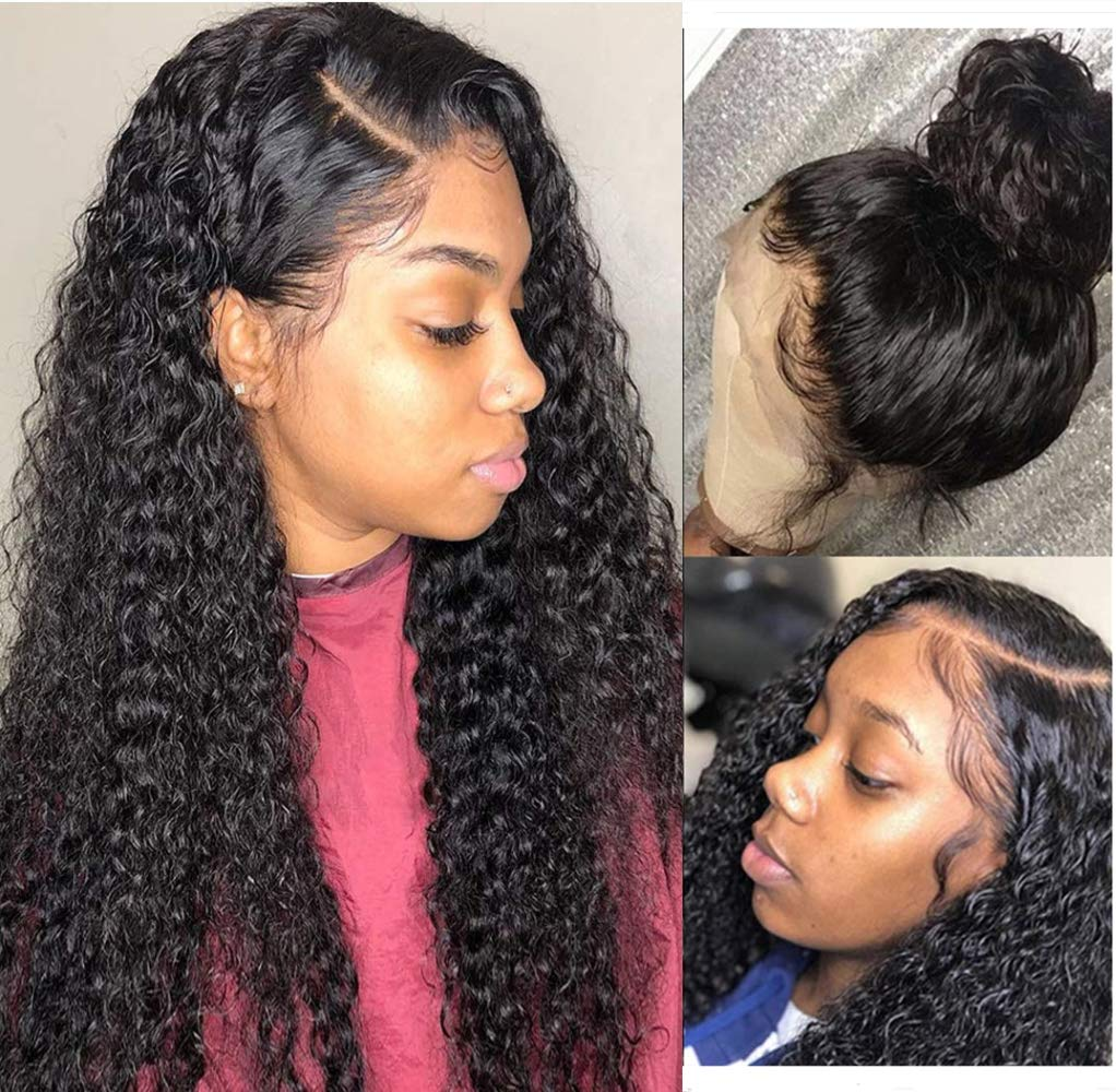 Luduna Wet and Wavy Wig Deep Curly Lace Wigs With Baby Hair 9A 100% Uprocessed Brazilian Pre Plucked Glueless Human Hair Deep Wave Wigs For Black Women 150% Density Wet Wavy Wigs (10''Natural Color)