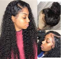 """Luduna Deep Wave Wig Wet and Wavy Wig Deep Curly Lace Wigs For Black Women 9A 150% Density 100% Uprocessed Pre Plucked Deep Wave Lace Front Wigs Human Hair With Baby Hair (14"""", Natural Color)"""