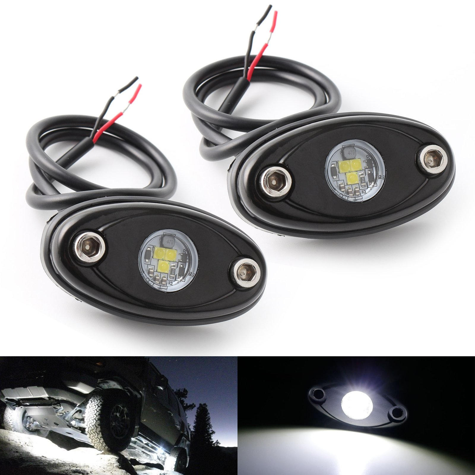 LEDMIRCY LED Rock Lights White 2PCS Kit for JEEP Off Road Truck Auto Car Boat ATV SUV RZR Waterproof High Power Neon Trail Rig Lights Shockproof(Pack of 2,White)