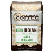 Fresh Roasted Coffee LLC, Green Unroasted Indian Monsooned Malabar Decaffeinated Coffee Beans, Water Process, 5 Pound Bag