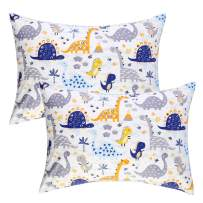 IBraFashion Kids Toddler Pillowcases 2 Packs Boy 100% Cotton 14x19 Fits Toddler Bedding Pillow 14x19, 13x18 Small Pillow (Blue Dinosaurs)