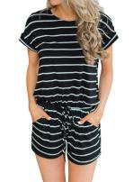 MIHOLL Women's Summer Striped Jumpsuit Casual Loose Short Sleeve Jumpsuit Rompers