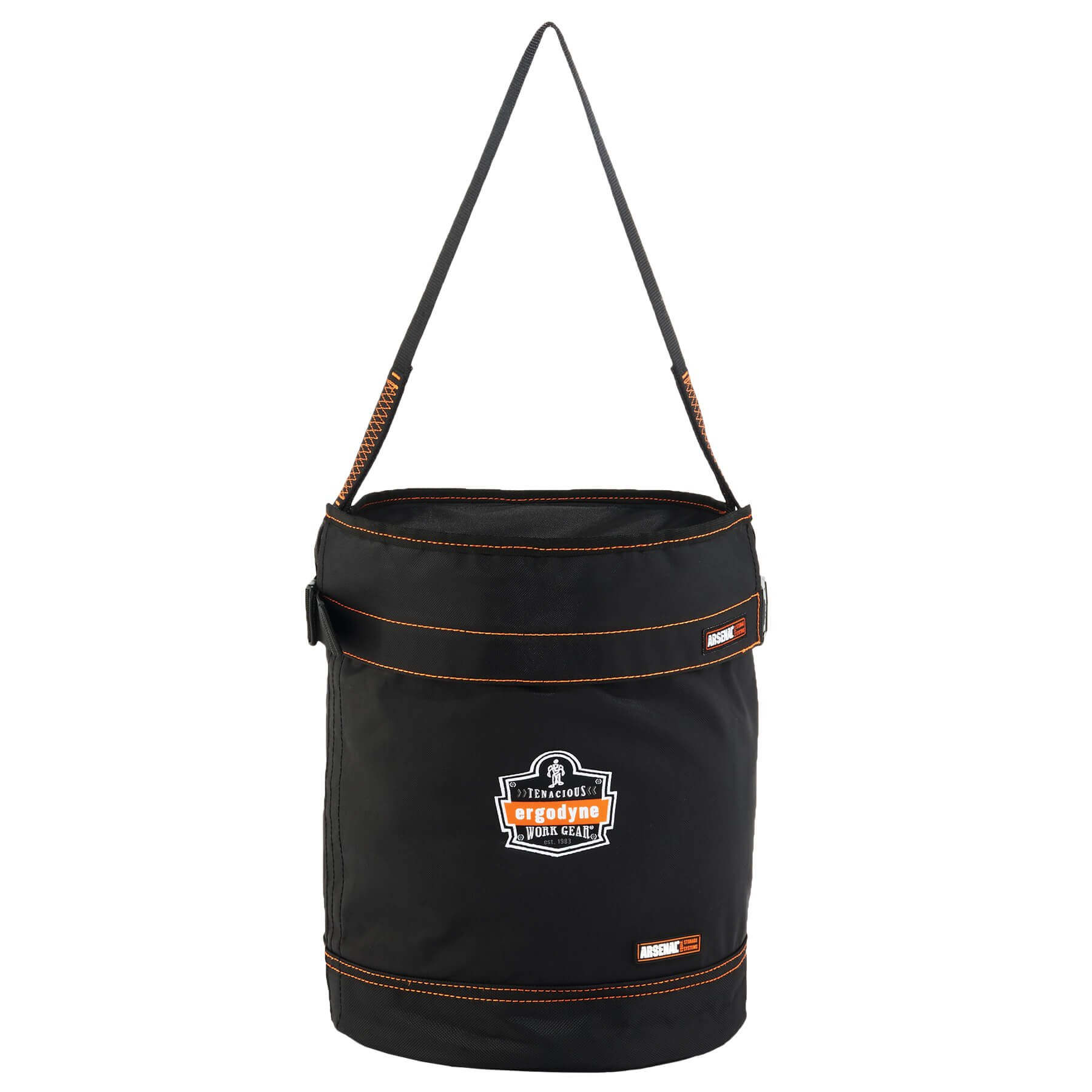Ergodyne Arsenal 5975T Medium Polyester Tool Bucket with Cover, Black