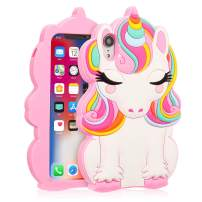 """Coralogo for iPhone XR Case, 3D Cute Cartoon Fun Funny Silicone Character Shockproof Kawaii Fashion Animal Colorful Design Designer Skin Cover Cases for Girls Teens Kids iPhone XR 6.1"""" (Color Unicorn)"""