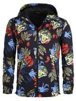 Lars Amadeus Men Flower Jacket Lightweight Athletic Floral Printed Zip Up Jackets Hoodie