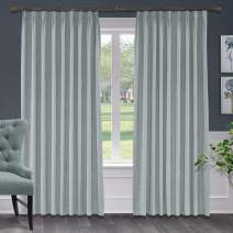 Macochico Extra Long Polyster Cotton Curtains with Blackout Lining Pinch Pleat Drapes for Sliding Door Patio Door Living Room Bedroom Meetingroom,Gray Violet 100W x 102L Inch (1 Panel)
