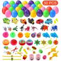 FUNNISM 50 PCs Toy Filled Surprise Eggs 2.5'' Colorful Prefilled Plastic Easter Eggs with Toys - Easter Basket Stuffers Easter, Easter Egg Hunt Party Favors for Kids