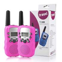 ALANGDUO Walkie Talkies for Kids, 22 Channels 2 Way Radio Kid Gift Toy 3 Mile Long Range Best Gifts Toys for 3-12 Year Old Boys and Girls to Outside Adventure, 2Pack (Pink)