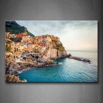 Manarola Sea Mediterranean Wall Art Painting Pictures Print On Canvas City The Picture for Home Modern Decoration