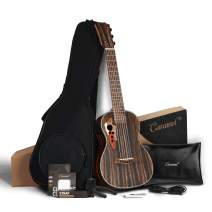 30 inch Caramel CB904G Ebony Wood Electric Guitalele Small Guitar Kit Beginner Guitarlele Starter Bundle Strings, Padded Gig Bag, Strap and Wall mount Set