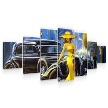 Startonight Large Canvas Wall Art Retro - The Lady with a Yellow Dress - Huge Framed Modern Set of 7 Panels 40 x 95 Inches