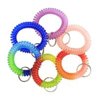 6 Pcs Wrist Coil Wrist Keychain BIHRTC Mix Color Plastic Coil Wrist Coil Stretch Wristband Elastic Stretchable Spiral Bracelet Key Ring Key Chain Key Hook Key Holder for Gym Pool ID Badge and Outdoor